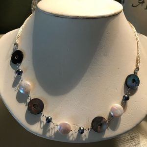 Jewelry - SS Freshwater Coin and Mother of Pearl Necklace